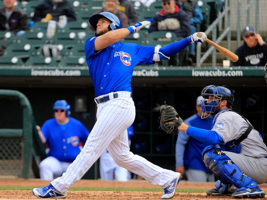 David Bote hits a double as the Iowa Cubs open their