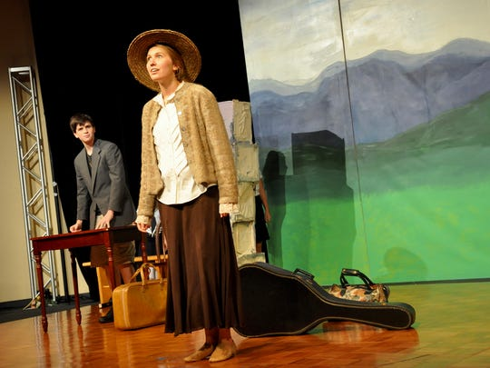 Athena Kelly, in the lead role as Maria, marvels at the von Trapp mansion as Captain Georg von Trapp, portrayed by Jadon Schrawder, observes.