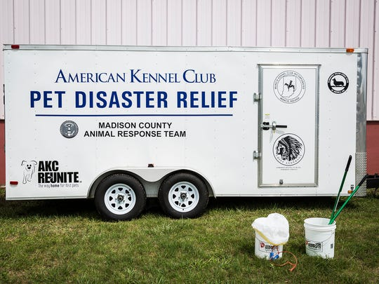 Competitors from across the U.S. compete in the Muncie Anderson Marion AKC Dog Show Wednesday, Aug. 17, 2016. The event featured the unveiling of a disaster relief trailer for pets and the donation of $500 to the Muncie Animal Shelter. The dog show continues through Sunday afternoon.
