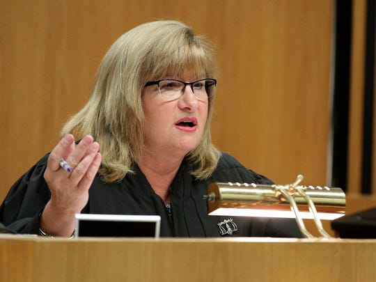 Superior Court Judge Rochelle Gizinski preside over the sentencing hearing for Peter Martorana in Toms River Friday, August 11, 2017.  He had pled guilty to money laundering in what authorities allege was the theft of some $1 million from more than a dozen elderly victims but then decided he wanted to withdraw that plea.