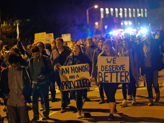 A march on Jan. 26, 2018 at Michigan State University in East Lansing in the wake of the Larry Nassar sexual assault scandal.