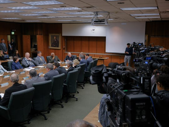 Cameras line the room during a Michigan State University