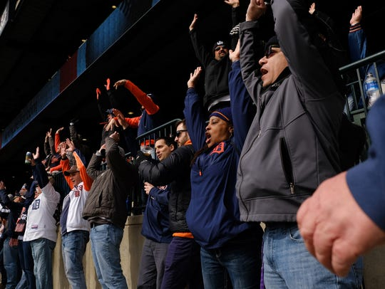 Fans do the wave during the 8th inning the Detroit