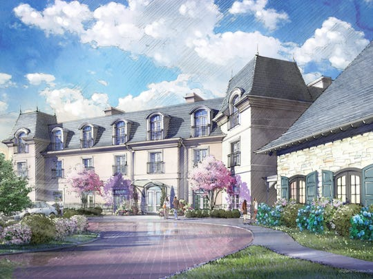 An artist's rendering of the new Mirbeau Inn & Spa  in Rhinebeck shows the French-influenced architecture of the resort that is expected to open in fall 2019.