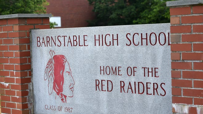 """A sign on West Main Street in front of Barnstable High School features the Red Raider mascot. A group called """"BHS for Change"""" sent a letter to the school asking that it adopt a more diverse curriculum and calling for a new mascot that better represents the district."""