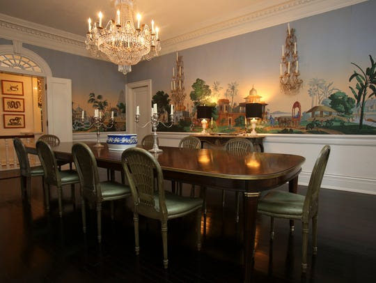 The formal dining room of this circa 1796 home has