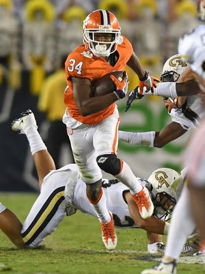 Clemson wide receiver Ray Ray McCloud (34) returns a punt against Georgia Tech during the 2nd quarter at Georgia Tech's Bobby Dodd Stadium in Atlanta on Thursday, September 22, 2016 at