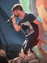 Shane Told, lead vocals in Silverstein, performs at the Hard Rock Hotel in Las Vegas during the Vans Warped Tour Friday, June 23, 2017.