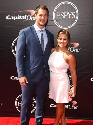 Shawn Johnson, right, and fiance Andrew East at the 2015 ESPYS at Microsoft Theater on July 15, 2015 in Los Angeles, California.