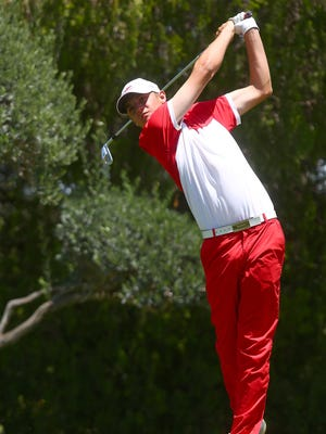 College of the Desert golfer Sam Jackson tees off during the state finals at Desert Island Golf and Country Club in Rancho Mirage, May 16, 2016.