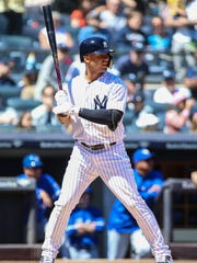 New York Yankees second baseman Gleyber Torres (25) bats in the second inning against the Toronto Blue Jays at Yankee Stadium.