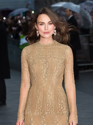 Keira Knightley, fully clothed, on Oct. 8, 2014 in London.