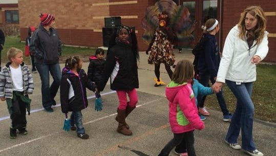 Carl Traeger Elementary got outside to Turkey Trot, as a reward for finishing the first quarter.