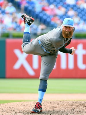 Jun 18, 2017: Arizona Diamondbacks relief pitcher Archie Bradley (25) throws a pitch during the ninth inning against the Philadelphia Phillies at Citizens Bank Park. The Diamondbacks defeated the Phillies, 5-4 in 10 innings.
