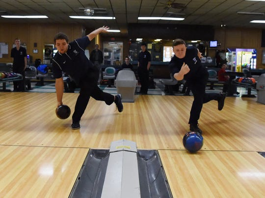 John Jay High School bowlers, from left, George Pacacha and Nick Pagan at Fishkill Bowl on December 10th.