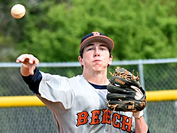 Beech High senior shortstop Tyler Maskill throws to first base for a second-inning putout.
