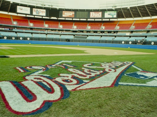 Fulton County Stadium and the World Series Logo before the 1991 World Series between the Minnesota Twins and Atlanta Braves.