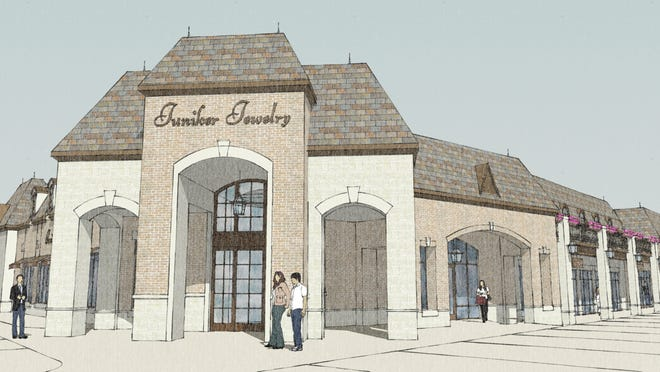 Artist's rendering of Juniker Jewelry new location at Madison Highlands shopping center under construction on Highland Colony Parkway south of Broadmoor Baptist Church. The store is relocating from Highland Village in Jackson where it has been since 1988.