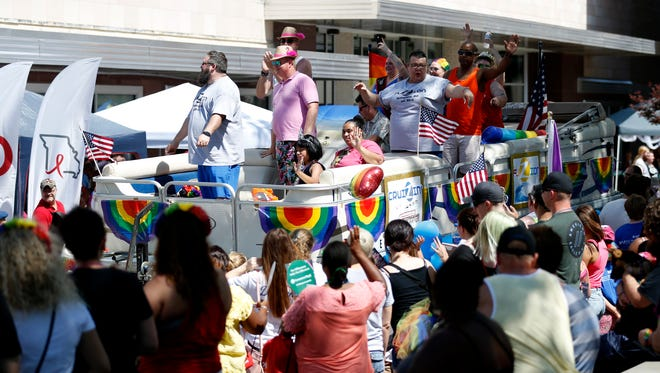 Hundreds came out to participate in the Greater Ozarks Pridefest Parade that kicked off Pridefest on the Park Central Square on Saturday, June 16, 2018.