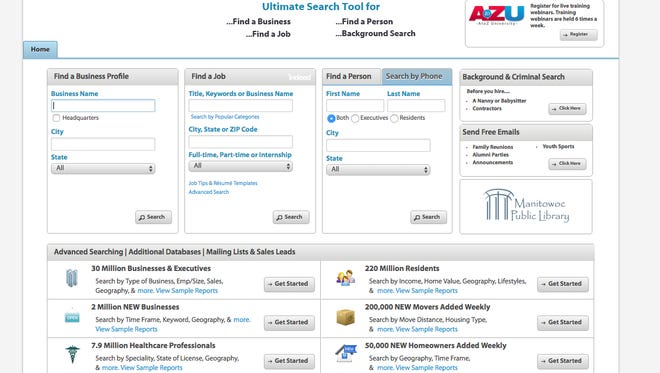 AtoZdatabases is a reference and marketing tool that includes 30 million business profiles along with demographic information on 220 million residents. It's available through branch libraries in the Manitowoc-Calumet Library System.