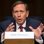 In this Sept. 22, 2015, file photo, former CIA Director and retired Army Gen. David Petraeus testifies on Capitol Hill in Washington. In an op-ed in The Washington Post, Petraeus called for more air strikes in Afghanistan.