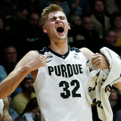 Matt Haarms lets out a scream after a Purdue score