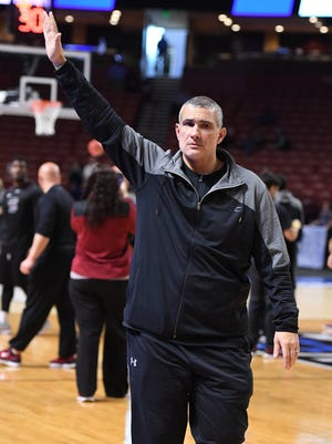 South Carolina head coach Frank Martin during practice for the NCAA Tournament at Bon Secours Wellness Arena in downtown Greenville on Thursday, March 16, 2017.