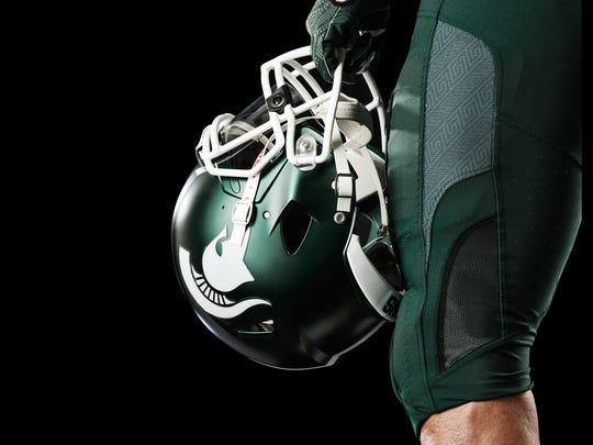 Left side of the helmet.