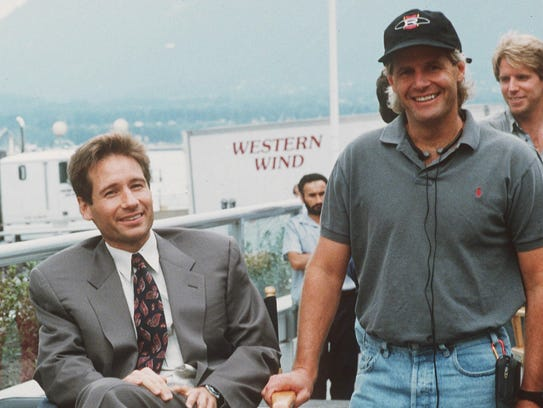 David Duchovny, left, and Chris Carter, creator of