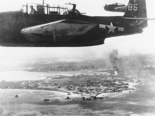American carrier-based torpedo bombers are seen during an attack on Japanese airbases at Okinawa.