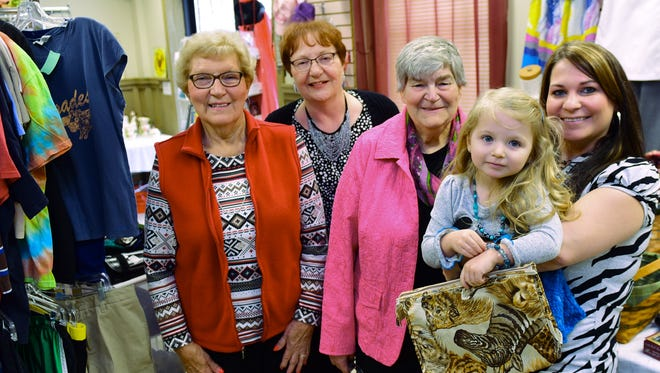 Upscale Consignment Shop is open at 27 W. Franklin St., Greencastle. Pictured, May 5, 2016 are Patricia Shew, Phyllis Dick, Ruth Mowen and Nichole and her daughter McKenzie Klipp, 3.