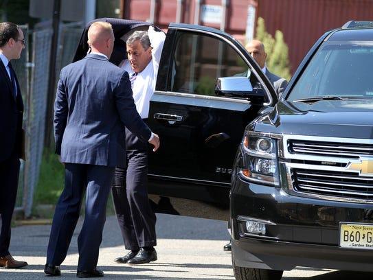 Gov. Chris Christie arrives at the Woodbridge Affordable