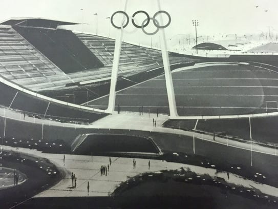A rendering of a proposed cycling velodrome that would have been built at the Michigan State Fairgrounds if Detroit had won the 1968 Summer Olympics.