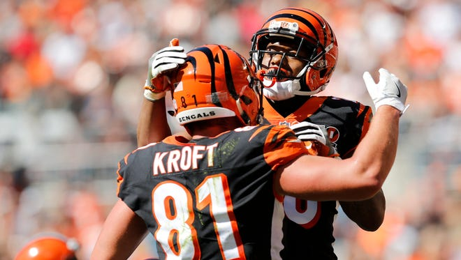 Cincinnati Bengals tight end Tyler Kroft (81) celebrates a touchdown catch in the second quarter of the NFL Week 4 game between the Cleveland Browns and the Cincinnati Bengals at FirstEnergy Stadium in downtown Cleveland on Sunday, Oct. 1, 2017. At halftime, the Bengals led 21-0.