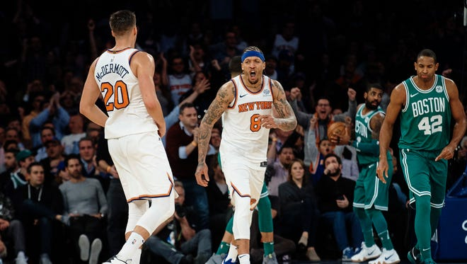 New York Knicks' Michael Beasley (8) celebrates during the second half of an NBA basketball game against Boston Celtics at Madison Square Garden in New York, Thursday, Dec. 21, 2017.