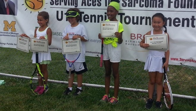 The Scott L. King youth tennis tournament Red Ball Division finalists were Ava Khalil, Ellie Kim, Jade Troupe and Alex Makled.