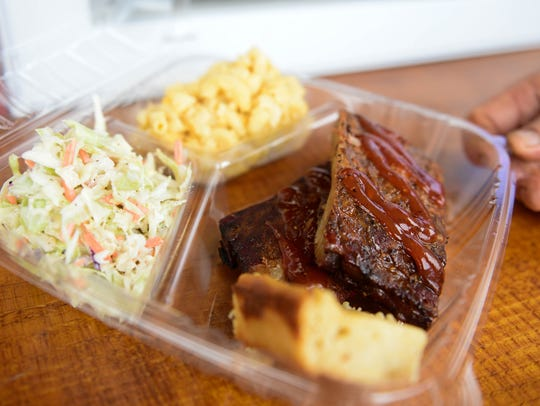 Blowin' Smoke's rib platter on Friday, June 1, 2018.