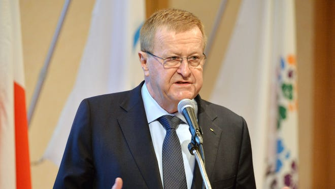 John Coates, International Olympic Committee Vice President and Chairman of the coordination Commission, delivers a speech.