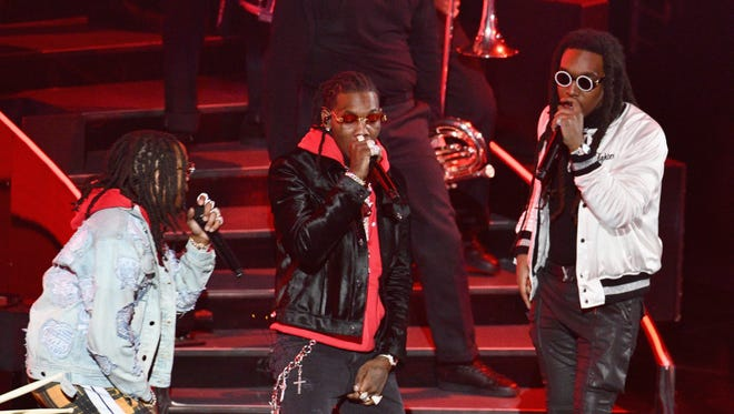 Migos performs onstage during the NBA All-Star Game on Feb. 18 in Los Angeles.