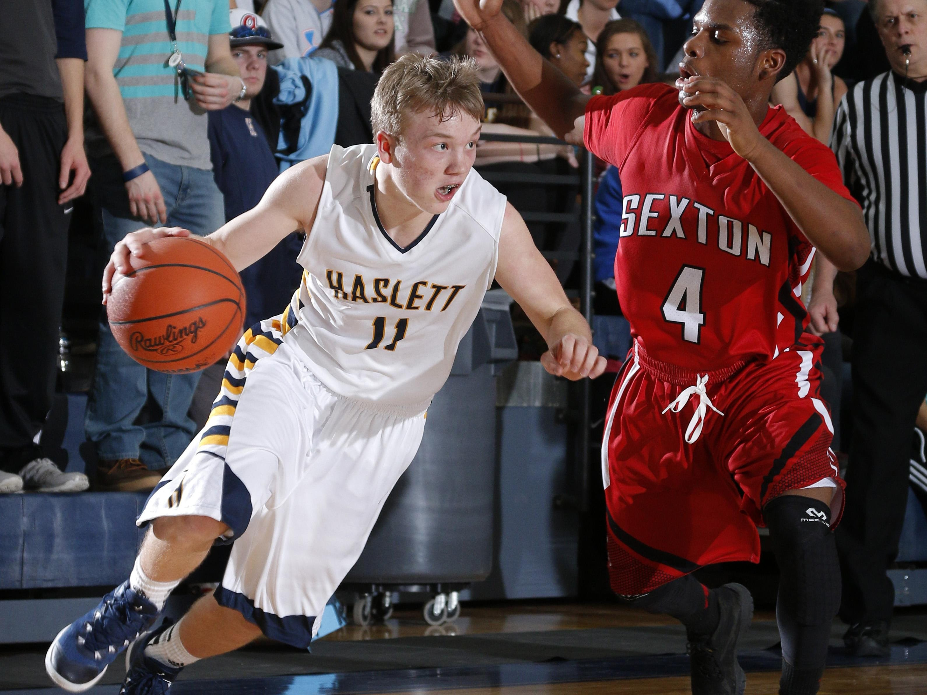 Haslett's Brandon Allen, left, has a scholarship offer from Long Beach State but is hoping to earn more.