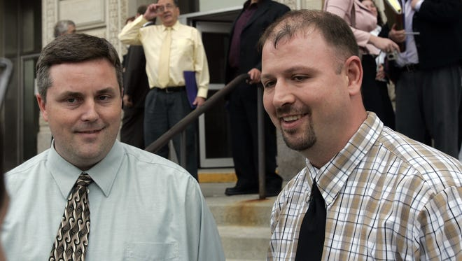 Chuck Swaggerty, left, and Jason Morgan, right, of Sioux City -- speaking to the press outside the Polk County Courthouse Friday afternoon after the hearing. Same-Sex Marriage Hearing Set for Polk County