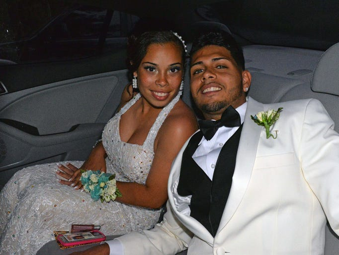 Danielle Lugo and Jonathan Vargas at the Vineland High School Prom at the Centerton Country Club on Thursday.  May 29, 2014.  Staff photo/Craig Matthews