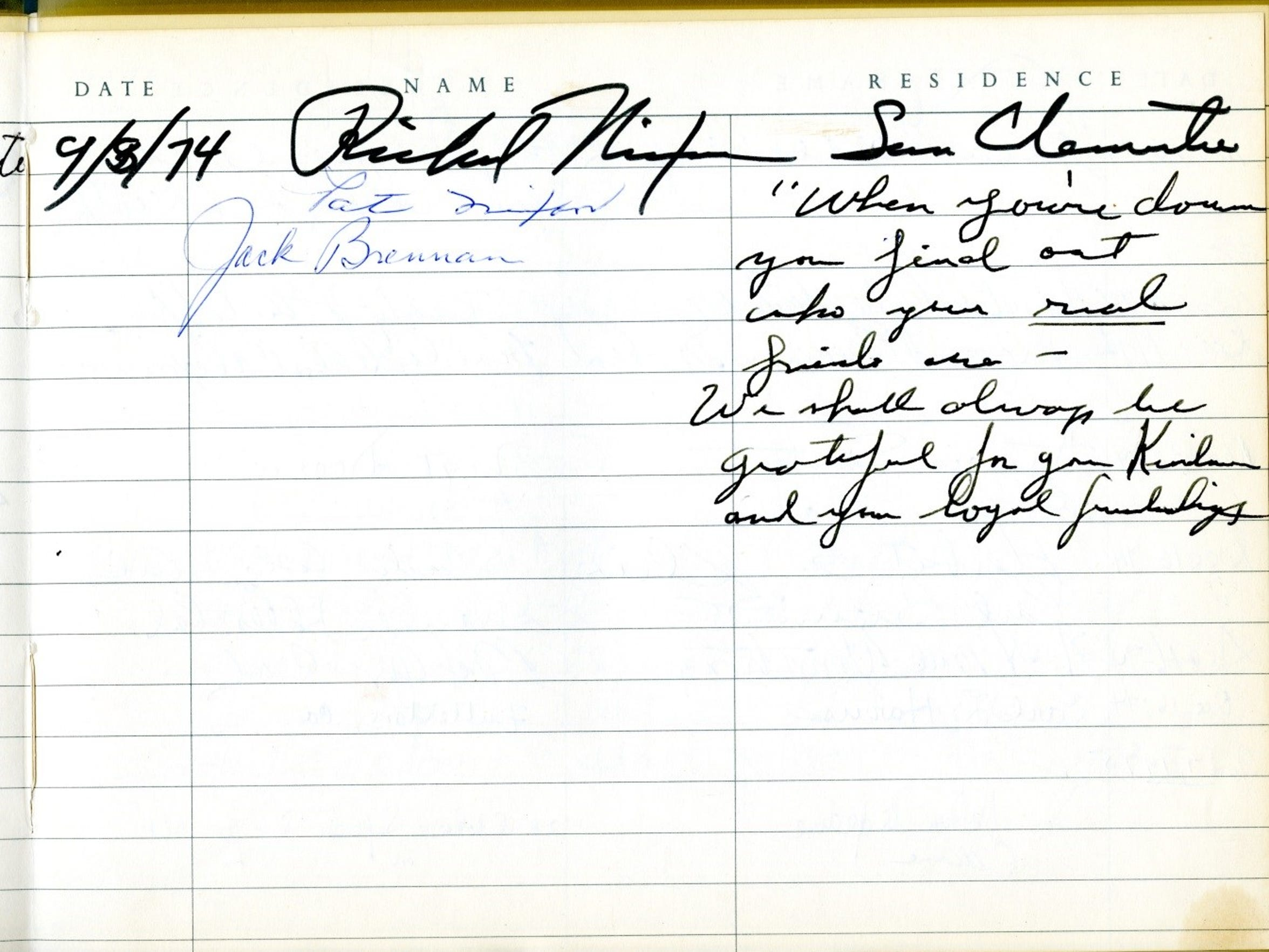 Richard M. Nixon signed the Sunnylands guestbook on