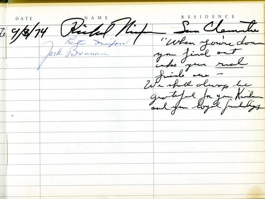 Richard M. Nixon signed the Sunnylands guestbook on Sept. 8, 1974, the same day he was pardoned by his successor, President Gerald Ford.