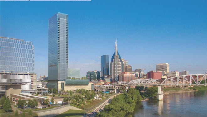 A rendering shows the planned 40-story high-rise from the Korean War Veterans Bridge.