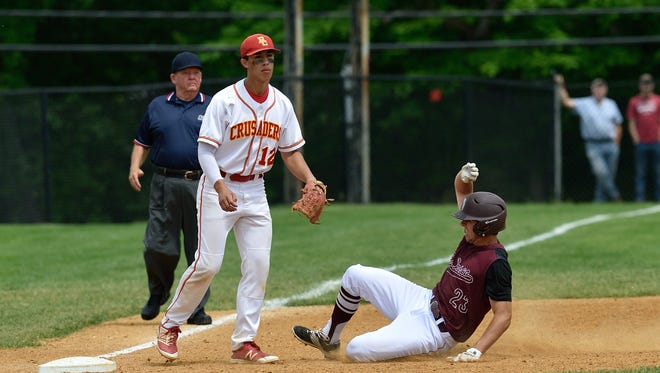 Don Bosco's Ryan Carr is safe at third in against Bergen Catholic in the 2017 Bergen County Baseball Tournament final. Carr had two RBI in Wednesday's 11-3 Ironman win over BC.