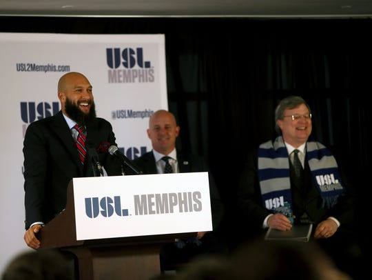 Tim Howard, a Major League Soccer star, U.S. National Team goalkeeper and Memphian, reveals that Memphis has the newest professional sports team, a yet-to-be-named United Soccer League team that will play its inaugural season in 2019 at AutoZone Park.
