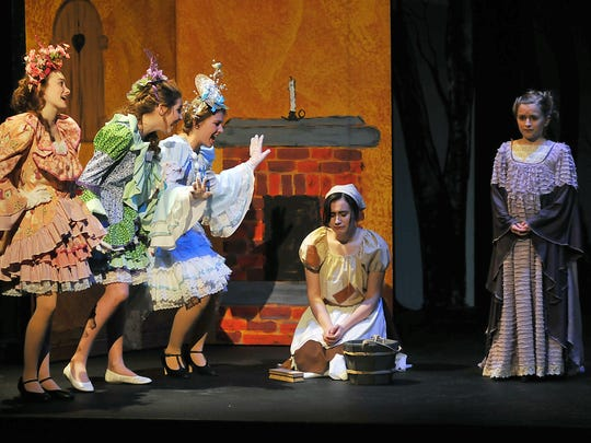 """The cast rehearses for """"Into the Woods Jr."""" at the Mansfield Playhouse Monday."""