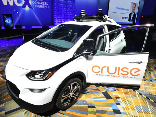 The GM Cruise AV self-driving car is shown at Cobo