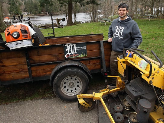Paul Wise at the park on Seacrest road near Indianola that he landscapes. Wiser started a business during the recession after he realized there was a demand for affordable landscaping services for those unable to take care of their lawns.